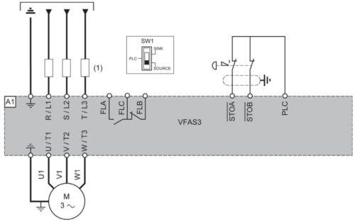 Схема использования функции Safe Torque Off (STO) в частотнике VF-AS3 Toshiba при подключении одного двигателя