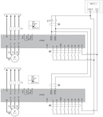 Схема использования функции Safe Torque Off (STO) в частотнике VF-AS3 Toshiba при подключении нескольких двигателей
