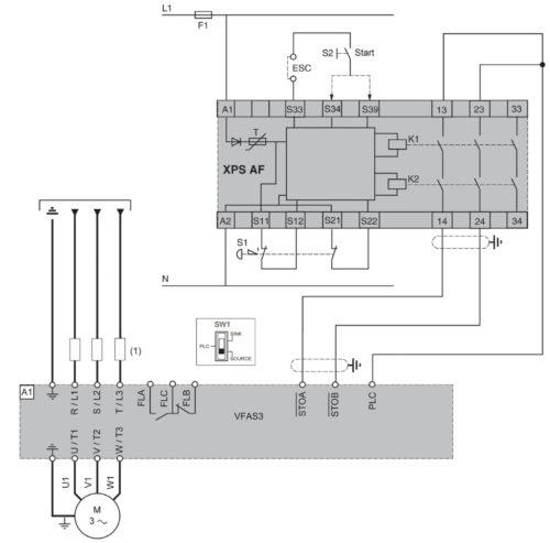 Схема использования функции Safe Torque Off (STO) в частотнике VF-AS3 Toshiba при подключении одного двигателя и использовании модуля Preventa XPS-AF
