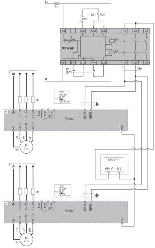 Схема использования функции Safe Torque Off (STO) в частотнике VF-AS3 Toshiba при подключении нескольких двигателей и использовании модуля Preventa XPS-AF
