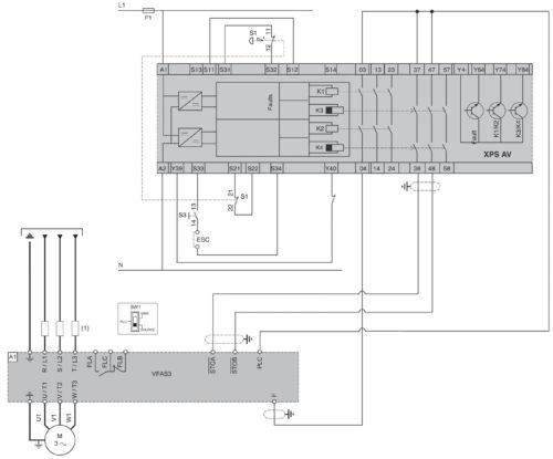 Схема использования функции Safe Torque Off (STO) в частотнике VF-AS3 Toshiba при подключении одного двигателя и использовании модуля Preventa XPS-AV