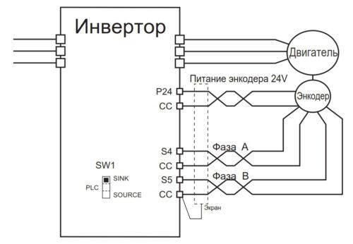 Схема подключения энкодера к частотнику AS3 Toshiba