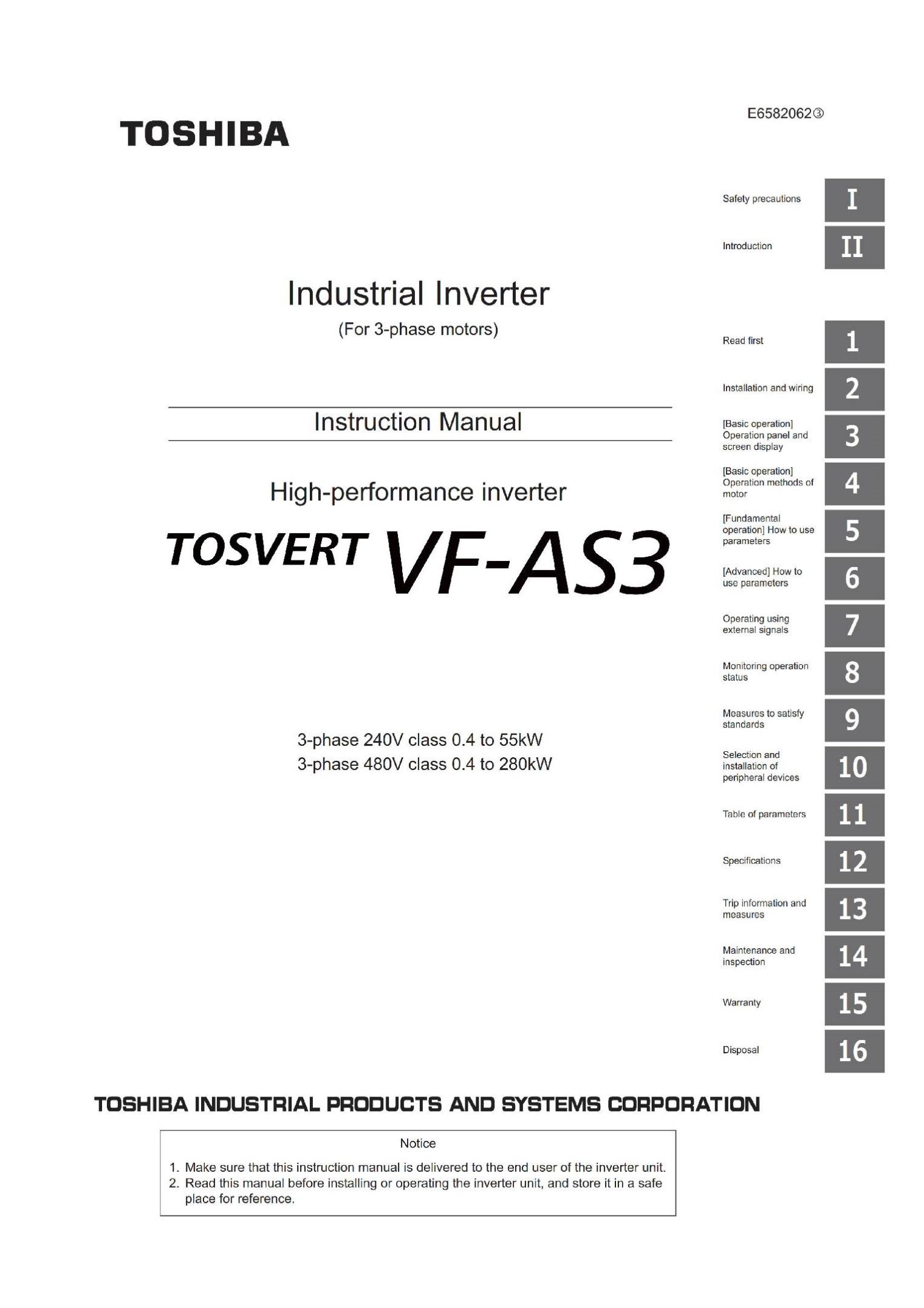 Руководство по эксплуатации частотника VF-AS3 на английском языке E6582062