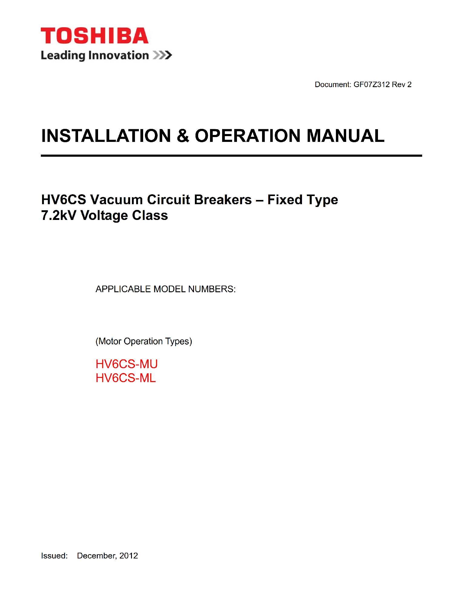 Руководство пользователя на высоковольтные вакуумные выключатели HV6CS-MU_ML (vacuum circuit breaker) Toshiba на английском языке GF07Z312