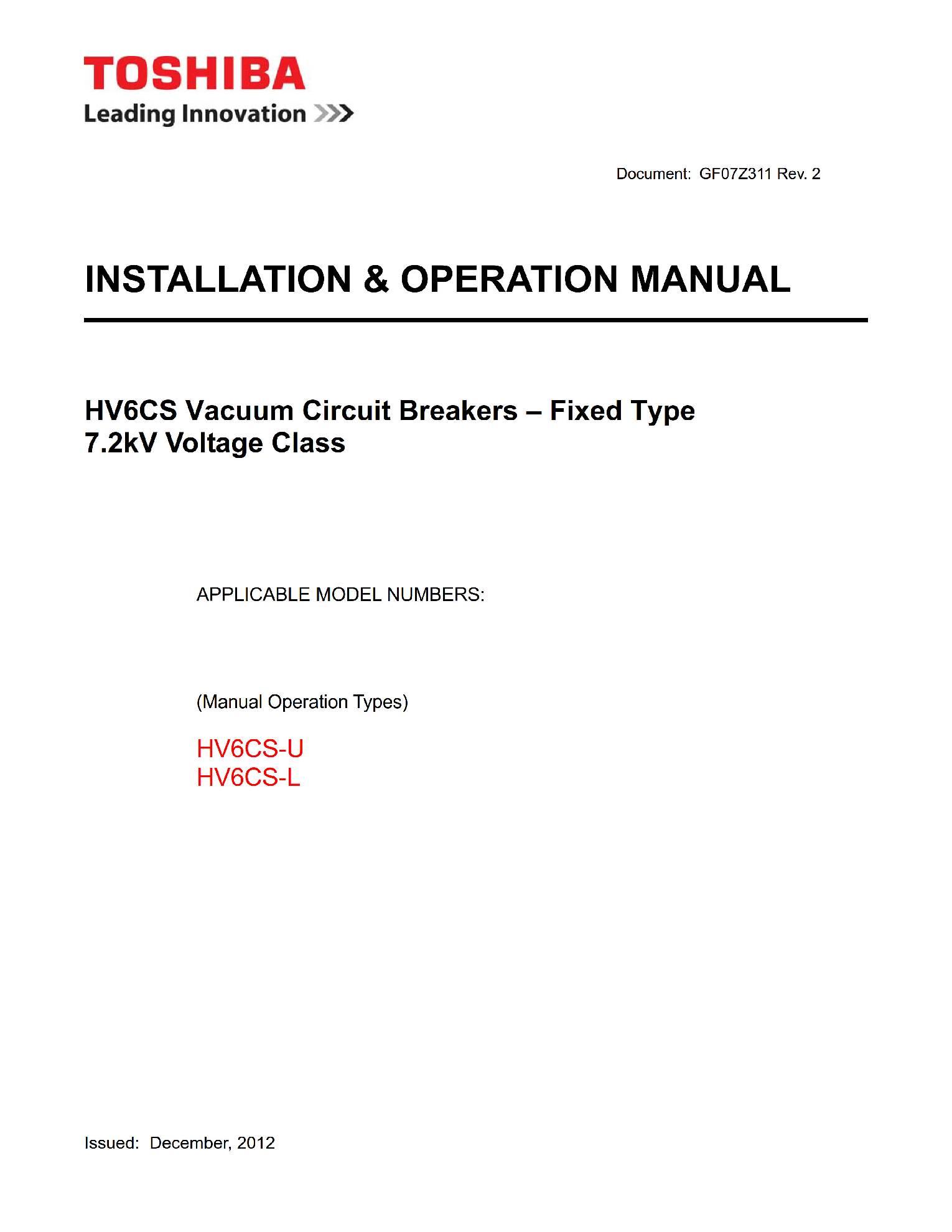 Руководство пользователя на высоковольтные вакуумные выключатели HV6CS-U_L (vacuum circuit breaker) Toshiba на английском языке GF07Z311