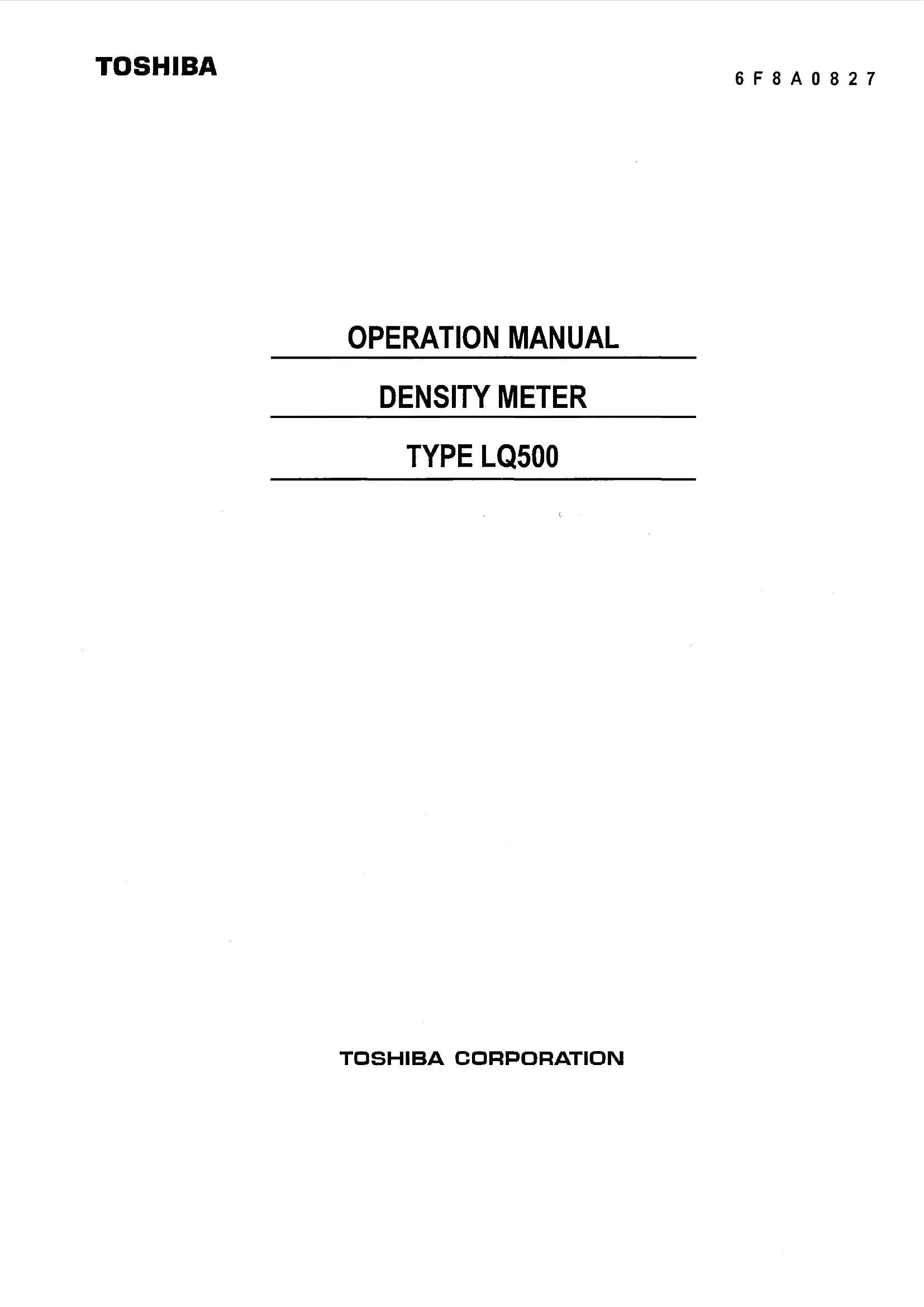 Manual - Микроволновый плотномер-концентратомер LQ500 Toshiba IP65