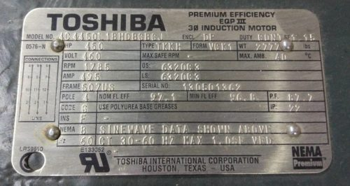 Шильдик электродвигателя Toshiba